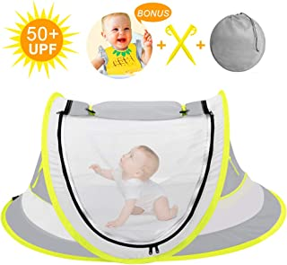 Large Baby Beach Tent,Portable Baby Travel Tent UPF 50+ Infant Sun Shelters with Baby bib, Pop Up Folding Travel Bed Mosquito Net Sunshade with 2 Pegs