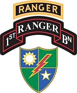 Military Vet Shop US Army 1st Battalion, 75th Ranger Regiment Ranger Tab Window Bumper Sticker Decal 3.8