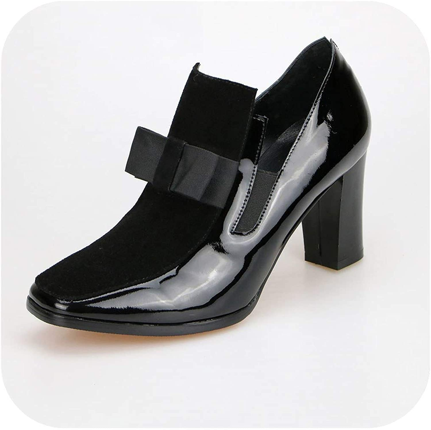 New 100% Real Photo High Heels Pumps Square Toe Genuine Leather shoes Black Sexy