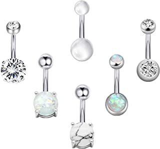 6-8Pcs 14G Stainless Steel Belly Button Rings for Women Girls Created-Opal Navel Rings CZ Turquoise Barbell Body Piercing Jewelry