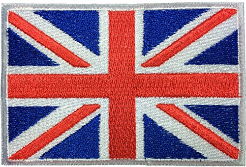 Papapatch British Union Jack United Kingdom UK England Flag Great Britain Sewing on Iron on Embroidered Applique Patch (IRON-UK-FLAG)