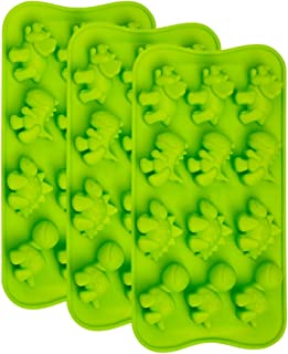 Webake Dinosaur Chocolate Molds, Silicone Candy Molds 3 Pack for Hard Candy, Fondant, Gummy, Jello, Ice Cube, Resin