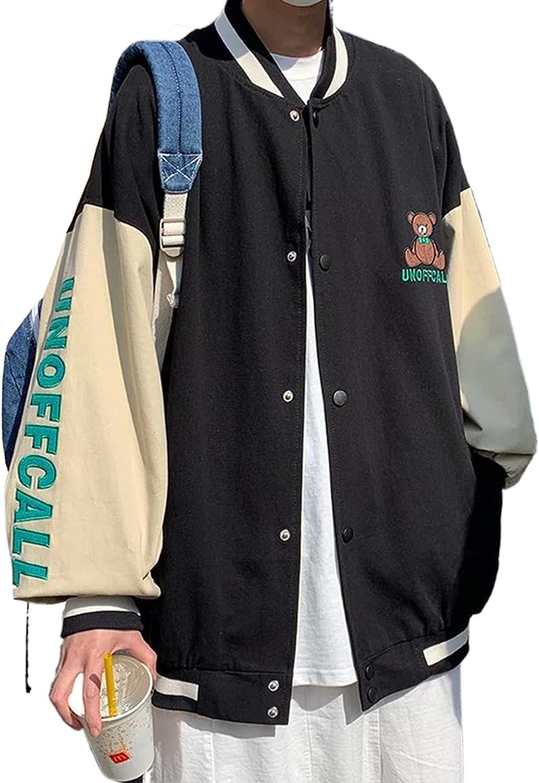 Women's Zip Up Casual Bomber Jacket Long Sleeve Heart Skeleton Letter Print Baseball Outwear Y2K Oversized Tops