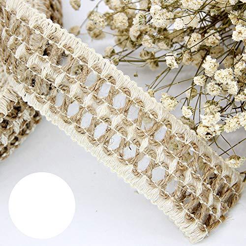 Keleily Rollo de cinta de arpillera cuerda de hilo de yute de arpillera con encaje blanco para la correa de envoltura de regalos Costura DIY Boda artesanal (5M, 3 rollos, 4CM)
