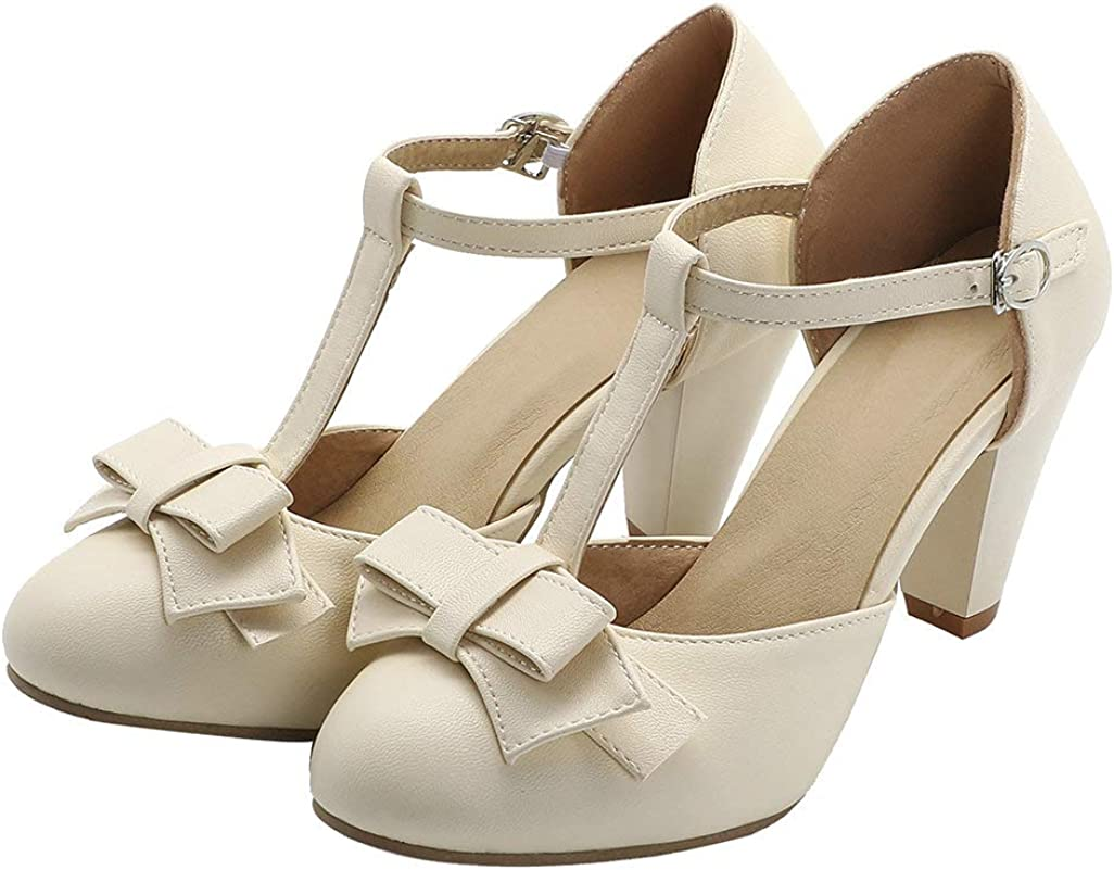 Shinelly Women Rockabilly 買い物 Sweet T-Strap Ado Cone 別倉庫からの配送 Heel Mary Janes