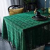 BGREN Mantel Mesa Mesa De Comedor Mesa De Centro Cubierta De Tela Mantel Verde Oscuro Retro Hecho A Mano Crochet Redondo Mantel Tejido Arte Café-Verde_El 140X180Cm