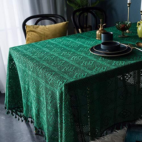 BGREN Telas Manteles Mesa De Comedor Mesa De Centro Cubierta De Tela Mantel Verde Oscuro Retro Hecho A Mano Crochet Redondo Mantel Tejido Arte Café-Verde_El 140X160Cm