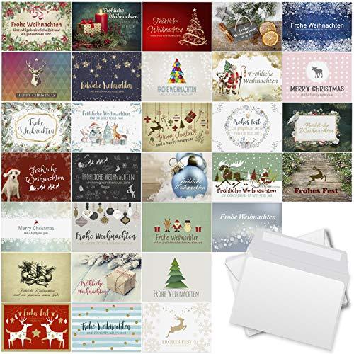30 Weihnachtskarten Set mit Umschlag 30 Motive Grußkarten Frohe Weihnachten Postkarten Format Weihnachtspostkarte Mix