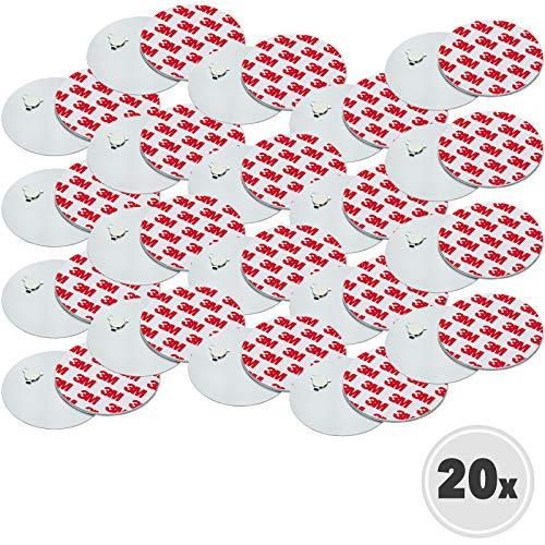 Rauchmelder Magnethalter - 20er Set - Selbstklebend für alle gängigen Rauchmelder - 3M Klebepads mit Magnethalterung zur einfachen Befestigung ohne Bohren und Schrauben