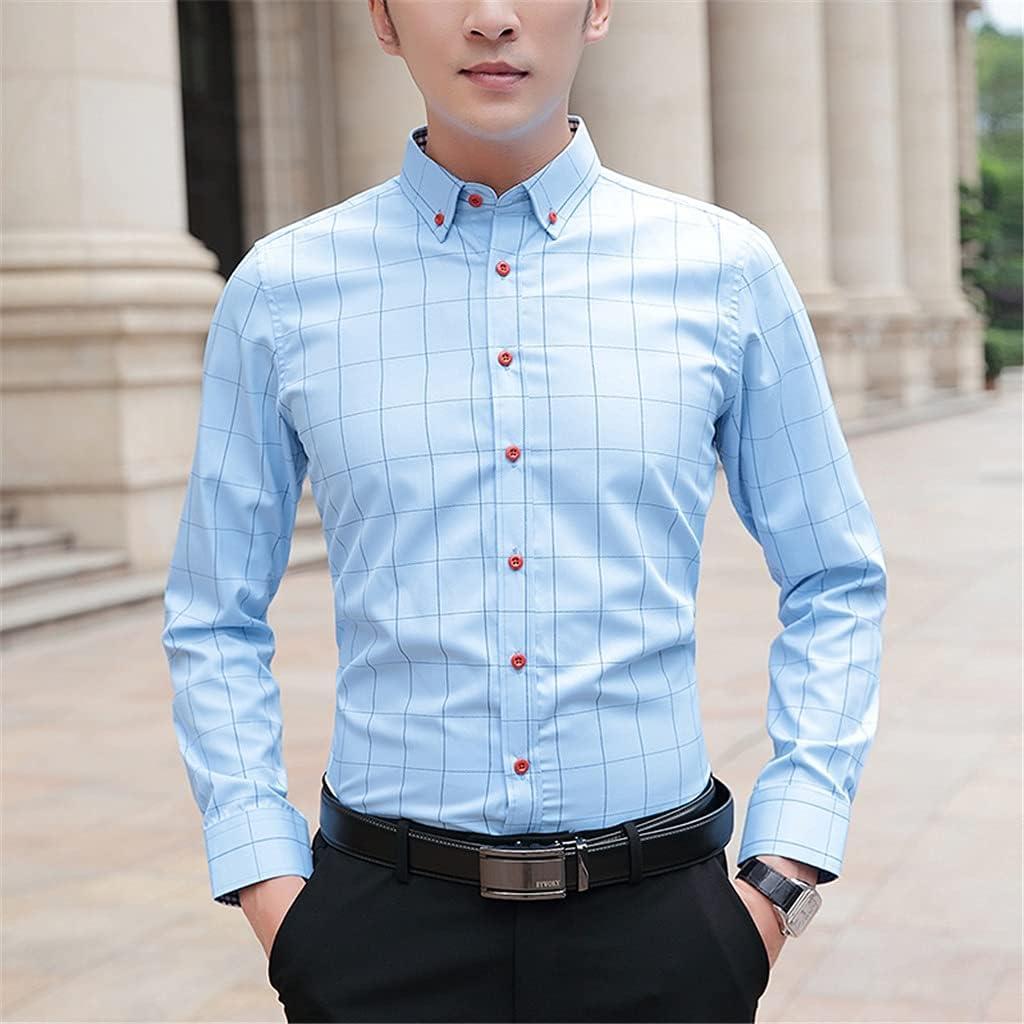PDGJG Shirts Men Oklahoma City Mall Long Sleeve Max 81% OFF Collar Men' Pattern Plaid Turn-Down