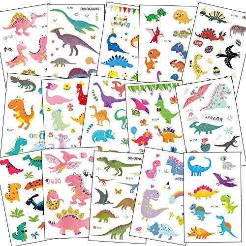 SZSMART Dinosauro Tatuaggi Temporanei per Bambini, Tatuaggi di Dinosauro Adesivi Tattoos Dino Tatuaggi Temporaneo Regalo Festa di Compleanno a Tema Dinosauri per Ragazza Ragazzo, 15 Fogli