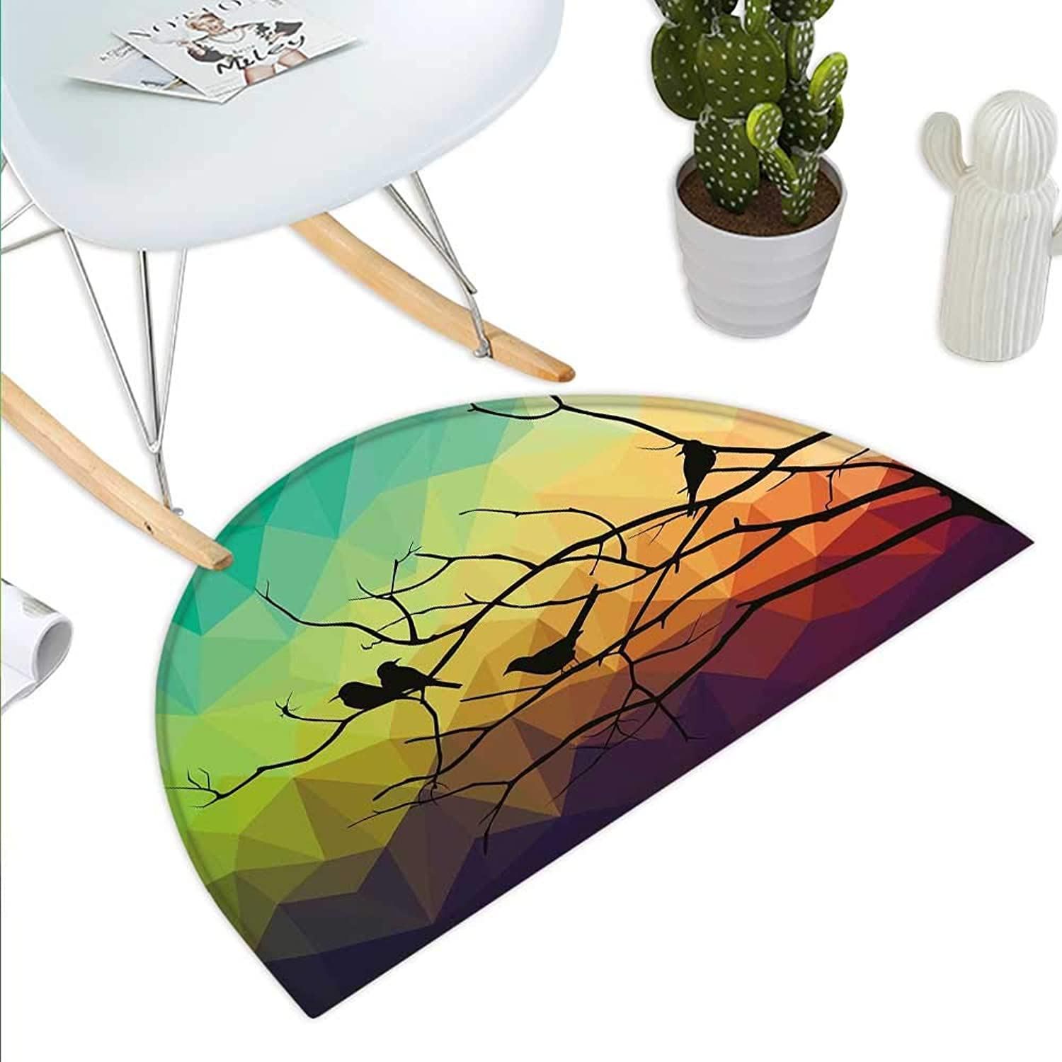 Modern Semicircle Doormat Birds on Branch with Geometrical Abstract Rainbow colord Sharp Lined Backdrop Print Halfmoon doormats H 35.4  xD 53.1  Multicolor