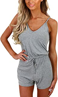 Dreamskull Women Summer Casual Spaghetti Strap Adjustable Waist Drawstring Short Jumpsuit Solid Cami Romper for Girl