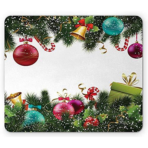 Kerstmuizenonderlegger, goede glijbaan in het nieuwe jaar groetfeest met steekpalmen slingers, antislip rubberen mousepad, groen kastanjebruin
