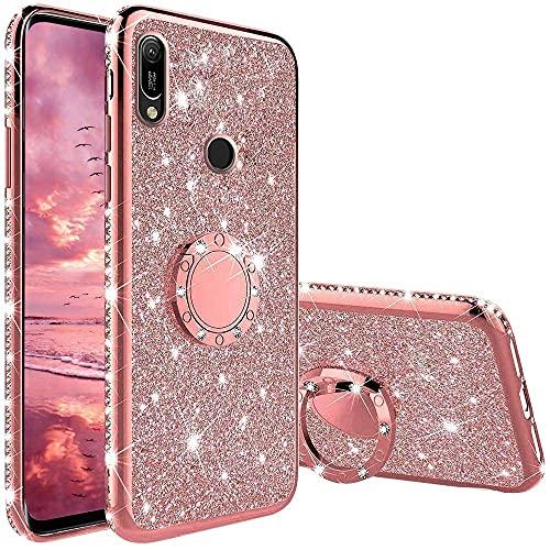 XTCASE Hülle für Huawei Y6 2019, Glitzer Bling Glänzend Strass Diamant Handyhülle mit 360 Grad Ring Ständer Superdünn Stoßfest TPU Silikon Tasche Schutzhülle - Rosé Gold