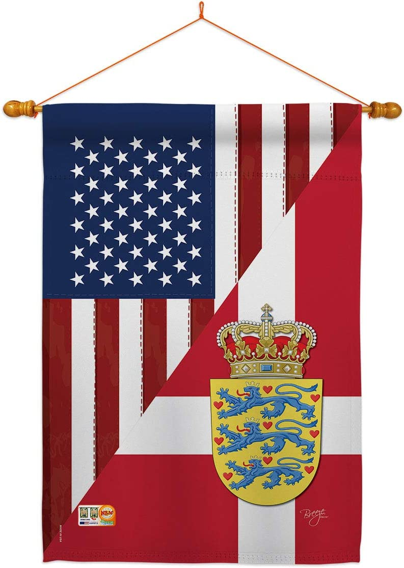 US 買収 Friendship 蔵 Denmark House Flag Set American Dowel USA Regional