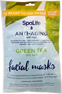 SpaLife Korean Facial Masks - 10 Pack (Green Tea)