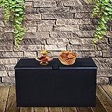 GDY 120 Gallon Patio Storage Deck Box Outdoor Storage Plastic Bench Box ,Resin Wicker Storage Container Bench Seat (Black)