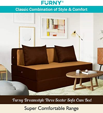Furny Dreamstyle Three Seater Sofa Cum Bed- (3 Years Warranty 36 Density Foam)- Perfect for Daily Use - Sofa Cum Bed Washable Polyster Fabric Cover (Camel- Brown) 6'X5'. Pillows Free