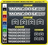 Adesivi Bici Mongoose PRO Kit Adesivi Stickers 15 Pezzi -Scegli SUBITO Colore- Bike Cycle pegatina cod.0815 (010 Bianco)