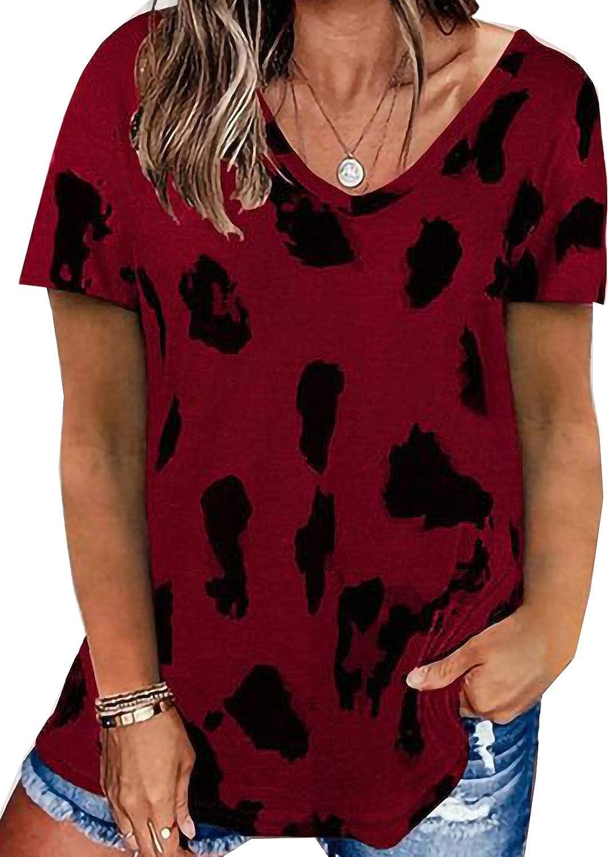 YIJIU Women's Leopard Print Tops Short Sleeve V Neck T Shirts Loose Casual Summer Blouses