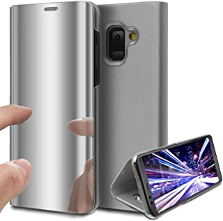 Samsung J4 2018 Case, COTDINFORCA Mirror Design Clear View Flip Bookstyle Luxury Protecter Shell With Kickstand Case Cover for Samsung Galaxy J4 2018 J400. Flip Mirror: Silver