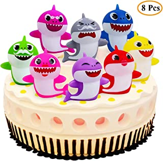 8PCS Shark Birthday Cake Toppers - Little Shark Cake Decorations for Kids Shark Theme Birthday Party Baby Shower