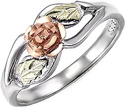 Blooms Rose Flower Diamond-Cut Ring, Sterling Silver, 12k Green and Rose Gold Black Hills Gold Motif