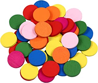 STOBOK 50pcs Colored Wooden Disc Tools, Math Supplies for Early Math Learners, Math Manipulatives for Counting, Grouping, ...