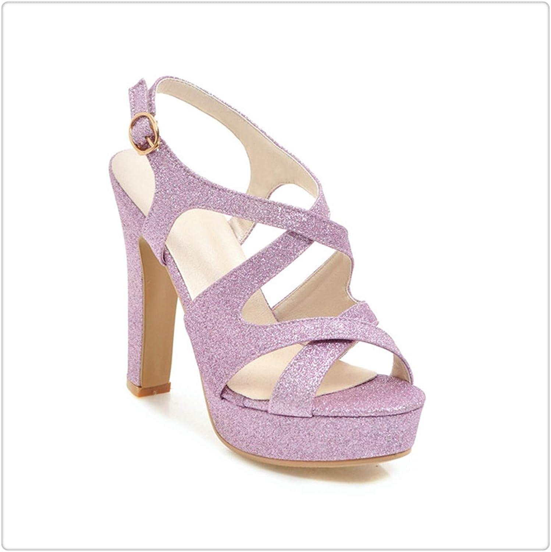 ANZLOU& Women shoes Gladiator Sandals Women Platform High Heels 2018 New Summer Lady Party shoes Buckle Glitter Big Size 3343 Pink 9