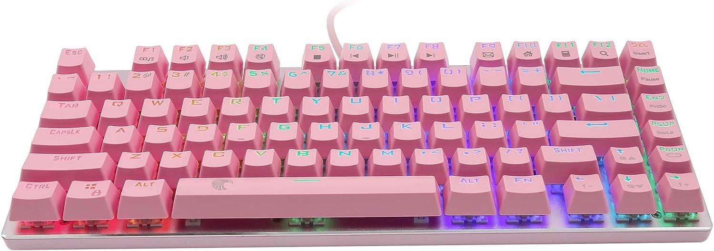 HUO JI E-Yooso Z-88 RGB Mechanical Gaming Keyboard, Brown Switches, 60% Compact 81 Keys Hot Swappable for Mac, PC, Cute Pink