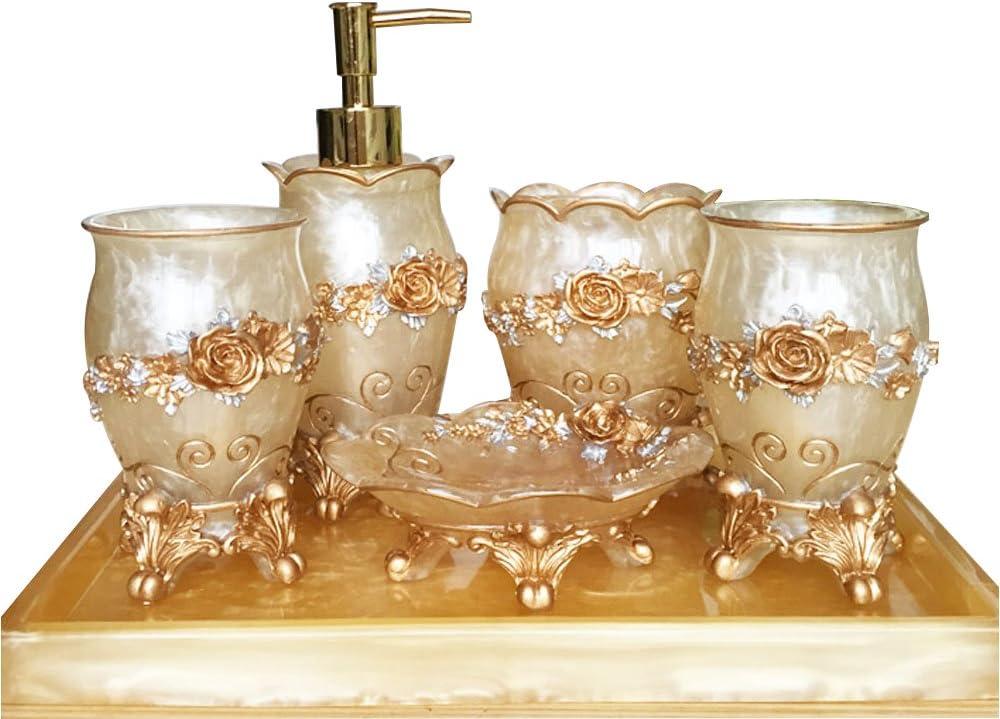 Amazon Com 6 Piece Resin Bathroom Accessories Set Soap Dish Soap Dispenser Toothbrush Holder Tumbler Rose Gold 6 Home Kitchen