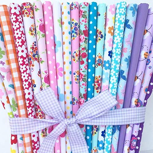 Always Knitting And Sewing Polycotton-Stoffe in verschiedenen Mustern 25cm x 25cm,20Stück