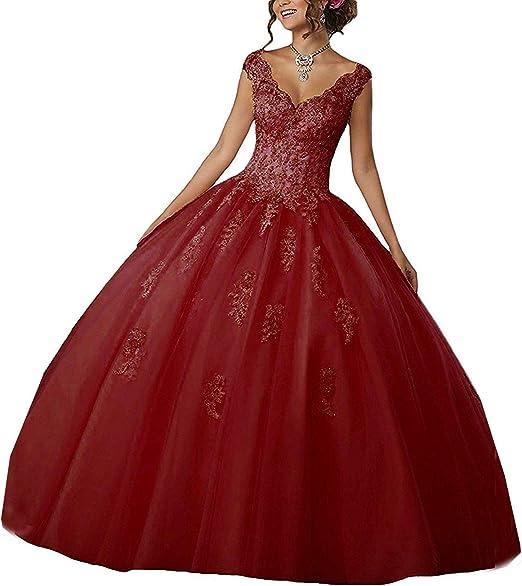 Carnivalprom Damen V Ausschnitt Quinceanera Kleider Mit Spitze Abendkleider Lang Hochzeitskleider Elegant Ballkleid Amazon De Bekleidung