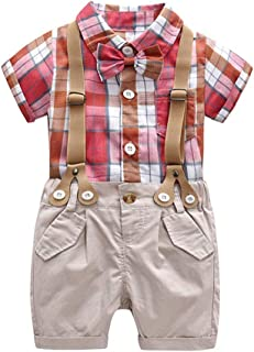 Fairy Baby Toddler Baby Boys Outfits Formal Gentleman Plaid Tops Shirt+Bib Shorts Pant Set