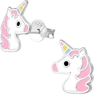 ICYROSE 925 Sterling Silver pink Unicorn face Crystals flower Children's Stud Earrings Girls (Nickel Free) 34358
