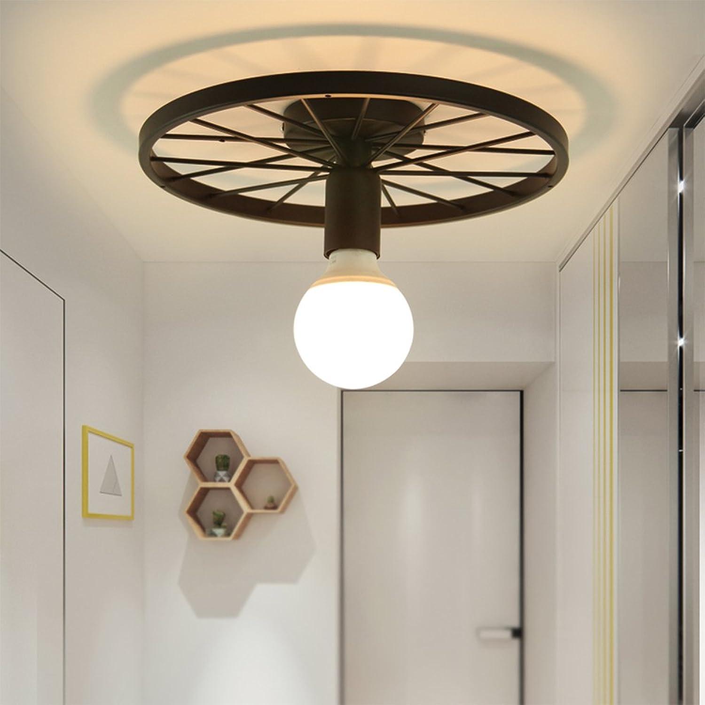 MITOYO Retro Runde Deckenlampe Kreative Eisen Deckenbeleuchtung Für Wohnzimmer Bar Cafestilvolle Beleuchtung1E27 Schwarz [Energieklasse A+]