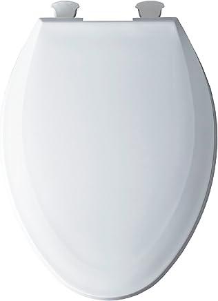 Bemis 1100EC 000 - Asiento de inodoro alargado con tapa delantera cerrada, color blanco