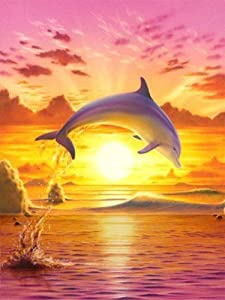 Offito Diamond Painting Kits for Adults Kids, Full Drill Rhinestone Diamond Art Kits, DIY 5D Diamond Painting by Numbers Kits Perfect for Gift, Home Wall Decorations Dolphin (12x16 inch)