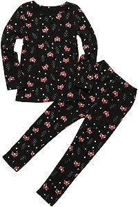 Colorful Home Fox Print Outfits Kid Baby Boy Girl Animal Print Long Sleeve Tops Pants Pajamas