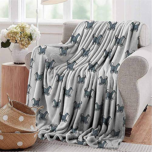 stonepot Dog Soft Blankets fit The Sofa Husky Puppy Siberian Energetic Pet Alaskan Origin Sketch Style Cartoon Cold for Living Room Sofa Chair Couch Blanket Blue Grey Black White W60 x L35 Inch