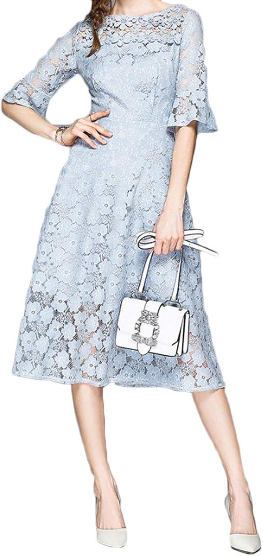 KERVINJESSIE Women's Bell Sleeve Round Neck Lace Hollow Dress Midi Dress Floral Party Dresses