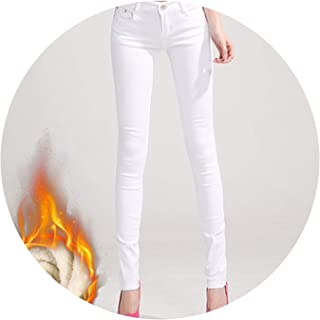 Glittering time-High Waist Pants Women's Warm Jeans for Woman Plus Size Candy Color Thick Velvet Winter Warm Jeans,White,33