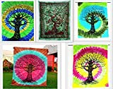 By Future Handmade Wholesale Pack of 5 Twin Tapestries Indian Handmade Tree Round Tapestry Birds And Animals Tie Dye Tapestry Wall Hanging Beach Towel Bohemian Tapestries Home Decor Bedspread (PACK 5)