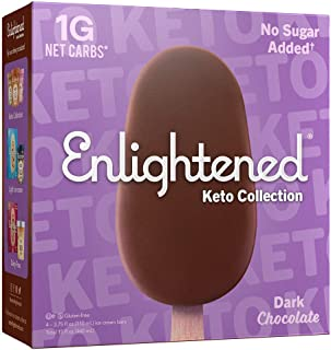 Enlightened, Keto Ice Cream, Low Sugar, Low Calories, 1g Net Carbs (Pack of 8) (Dark Chocolate, 32 Bars)