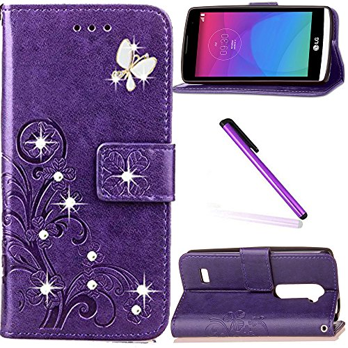 LG Leon 4G LTE H340N Case LEECOCO Bling Crystal Diamonds Lucky Clover Floral with Card Cash Slots Wrist Strap Flip Kicktand PU Leather Wallet Case Cover for LG Leon 4G C40 Diamond Clover Purple