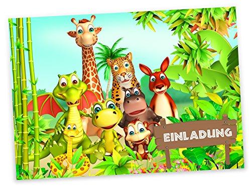 ArtUp.de 12 Einladungskarten Tierische Geburtstags-Party fröhliche Tiere Urwald Dschungel - Geburtstagseinladungen Einladungen Kindergeburtstag Kinder Jungen Mädchen Einladungstext Vorlagen Karten