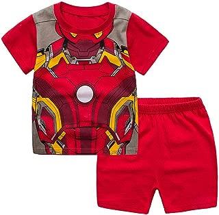 Boys Short Pajamas Toddler Kids Super Hero PJS Snug Fit Sleepwear Summer Clothes Shirts