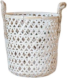 ZTMN Paniers à Linge Panier de Rangement Poignée tissée à la Main en Bambou Maison Salon Chambre à Coucher Creux (Taille: L)