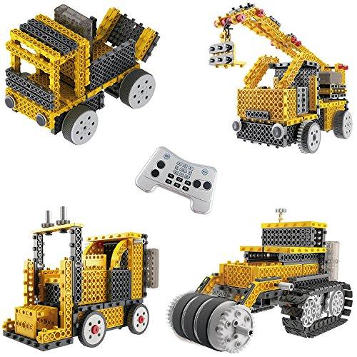 Think Gizmos Equipo de construcción para niños – Ingenious Machines a Control Remoto Kit de Construcción de Juguete (grúa, Carretilla elevadora, topadora y camión volquete)